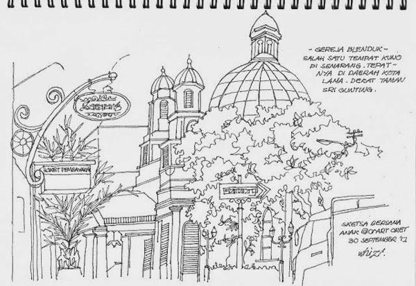 Sketsa Gereja blenduk Semarang, Kota Lama, Wisata Semarang