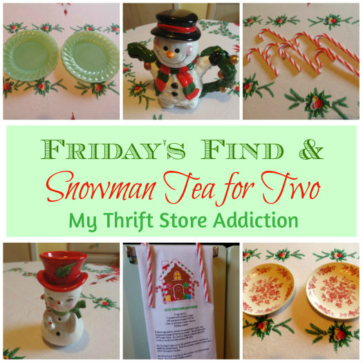 Friday's Find: A Snowman Tea for Two mythriftstoreaddiction.blogspot.com A snowman tea party tablescape created with thrift store finds