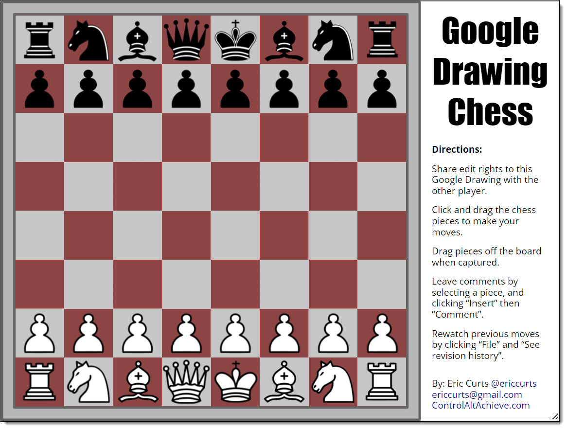 control alt achieve google drawings chess and checkers for students