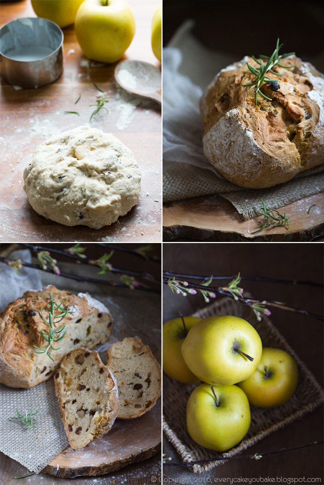 chleb na sodzie z rozmarynem i jabłkami irlandzki soda bread