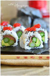 Uramaki suski de esparrago triguero. Tu receta de sushi en 5 pasos- sashimi sushi- nigiri sushi- uramaki california- temaki- gunkan- philadelphia roll- norimaki- alga nori- arroz para sushi