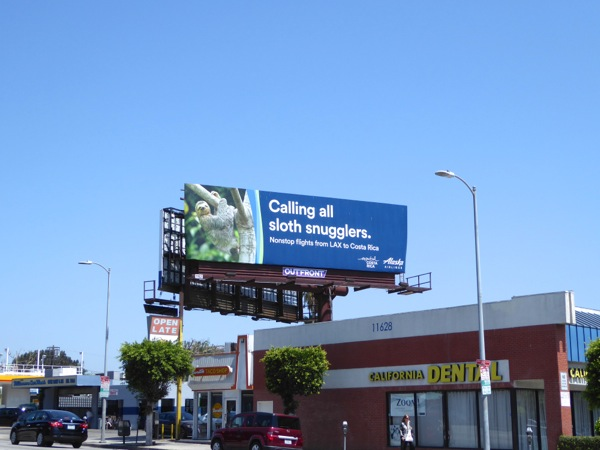 Alaska Airlines Sloth snugglers Costa Rica billboard