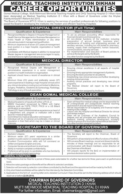 Doctors Jobs in Pakistan Medical teaching Institute DI Khan Jobs