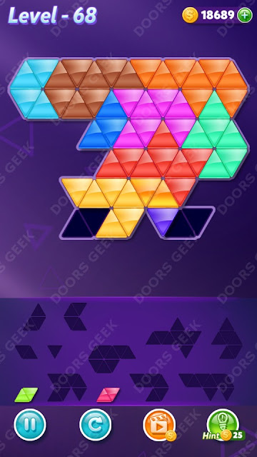 Block! Triangle Puzzle 12 Mania Level 68 Solution, Cheats, Walkthrough for Android, iPhone, iPad and iPod
