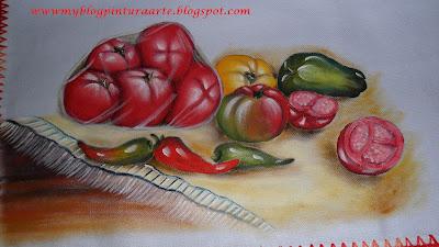 Tomates em saco plástico-Pintura e tecido