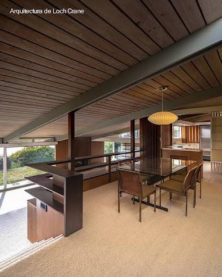 Sector en el interior de casa residencial Mid Century en La Jolla, California, Estados Unidos