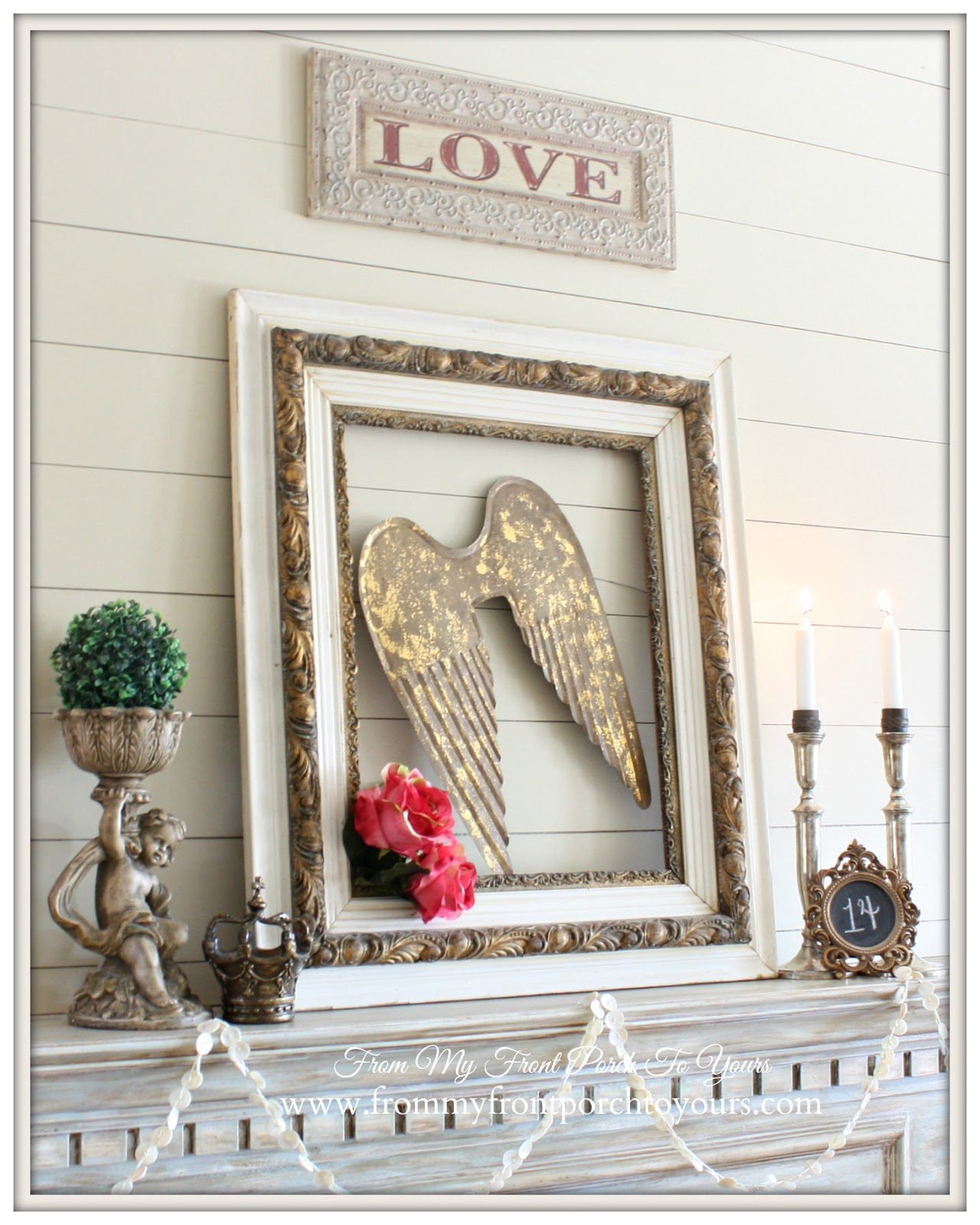 Vintage Romantic Valentines Mantel- From My Front Porch To Yours