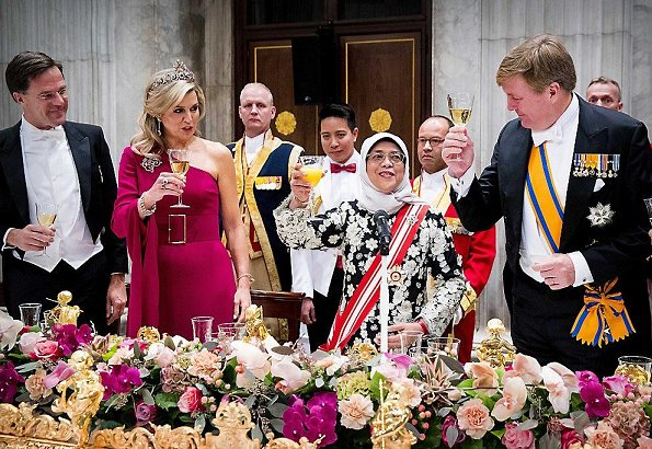 Queen Maxima wore Claes Iversen Dress. Queen Maxima diamond tiara Ruby Peacock. Princess Beatrice tiara