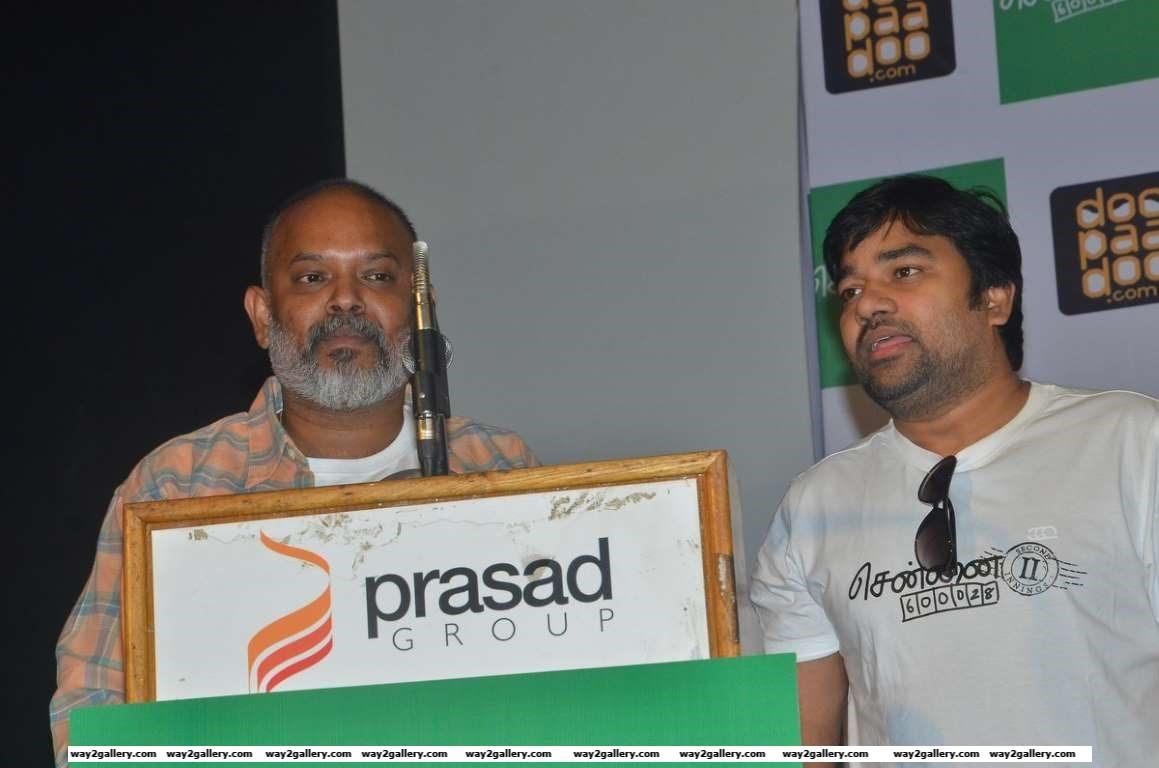 Venkat Prabhu and Shiva clicked at a press meet of Chennai  II