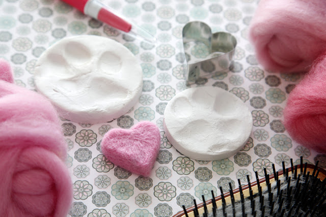 DIY needled felted pet fur heart and clay paw prints
