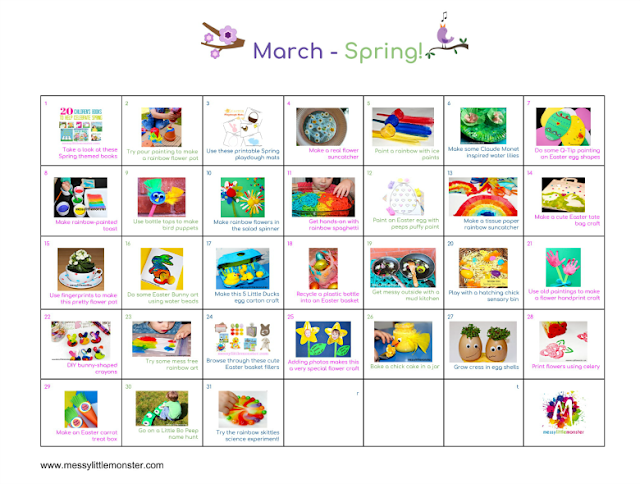 March kids activity calendar.  Spring themed art craft and activity ideas for toddlers and preschoolers.