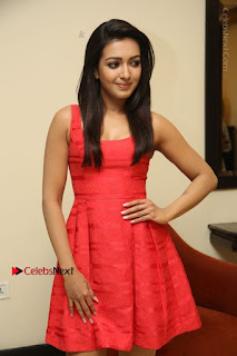Actress Catherine Tresa Latest Pos in Red Short Dress at Intex Air Conditioners Launch  0012.jpg
