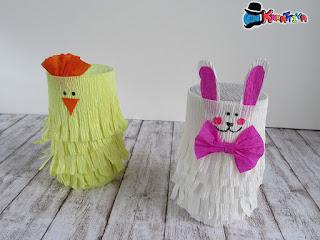 pulcino e coniglietto in carta crespa
