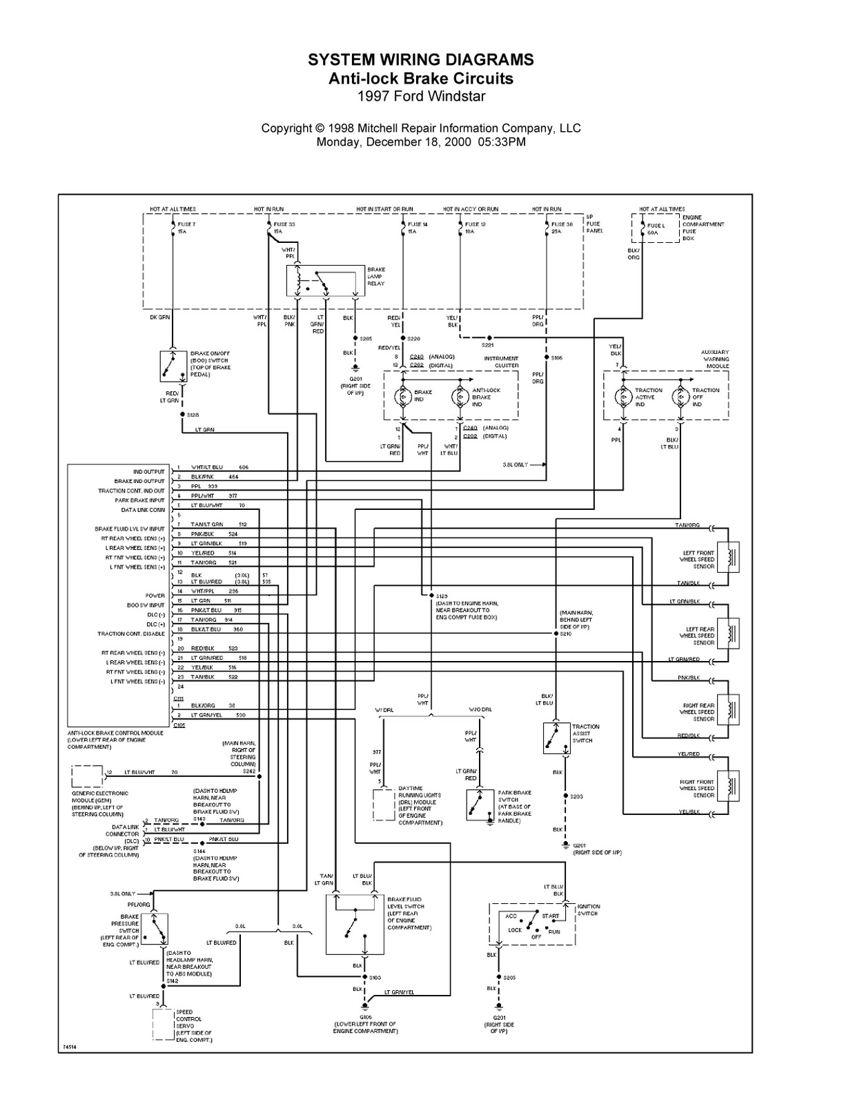 Ford Wiring Diagrams Ford Windstar System Wiring Diagrams Anti Lock Brake Circuits