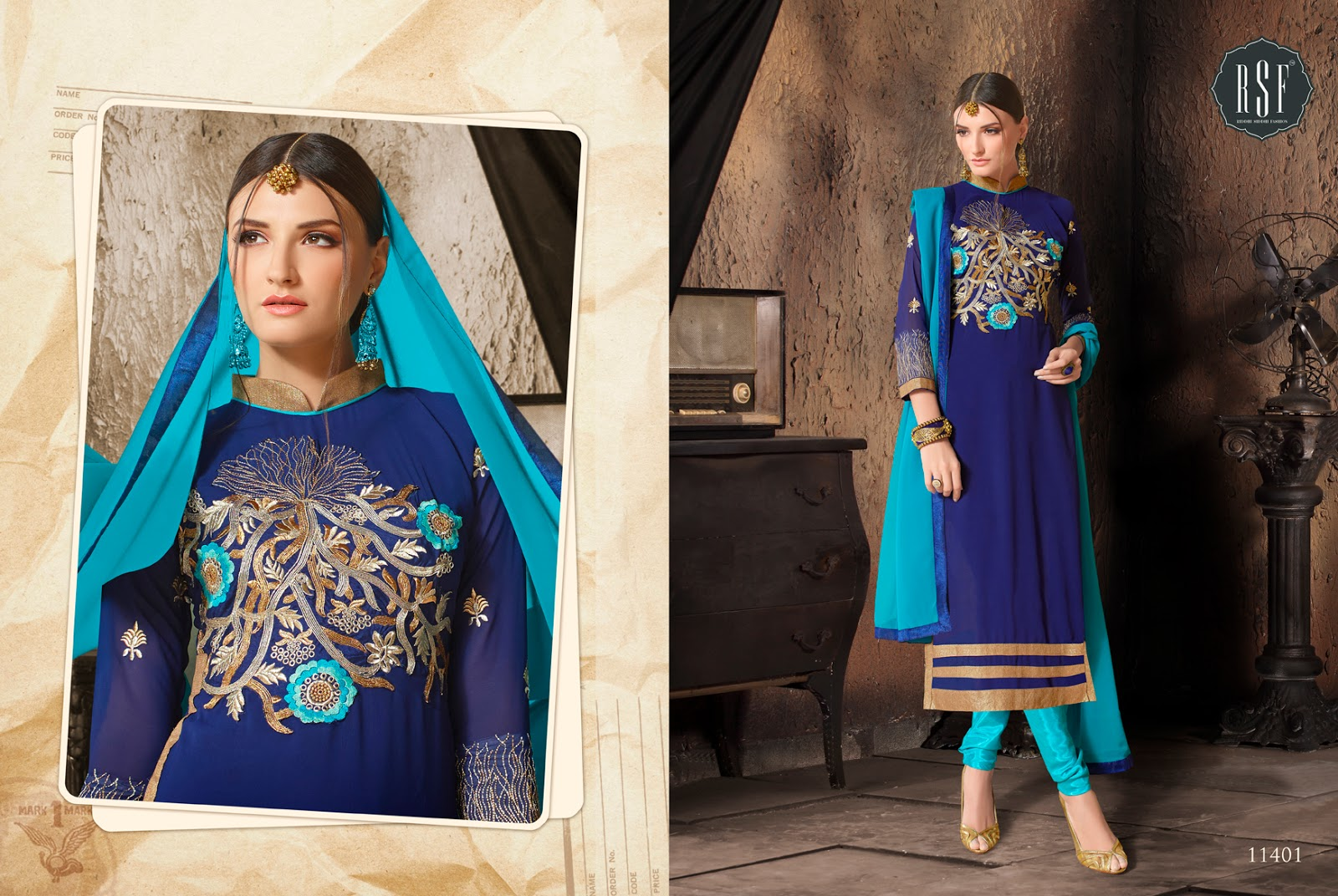 Evelyn Vol 12 – Heavy Embroidered Faux Georgette Straight Long Salwar Suit