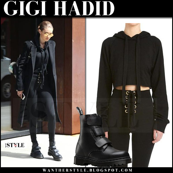 Gigi Hadid in black coat, black leggings are you am I and black ankle boots dr martens what she wore april 2017