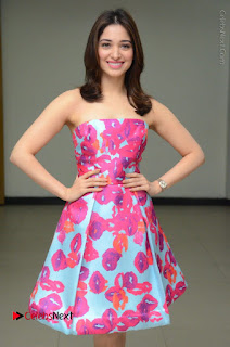 Actress Tamanna Latest Images in Floral Short Dress at Okkadochadu Movie Promotions  0042.JPG