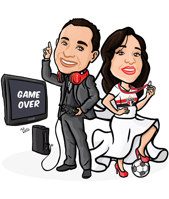 Caricatura de Noivos com Video game