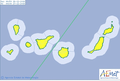 Continua aviso por calima y viento en Canarias, lunes 26 diciembre