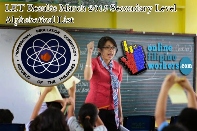 LET Passers March 2015 Final List A - E Seconday Level Teachers Licensure Board Exam