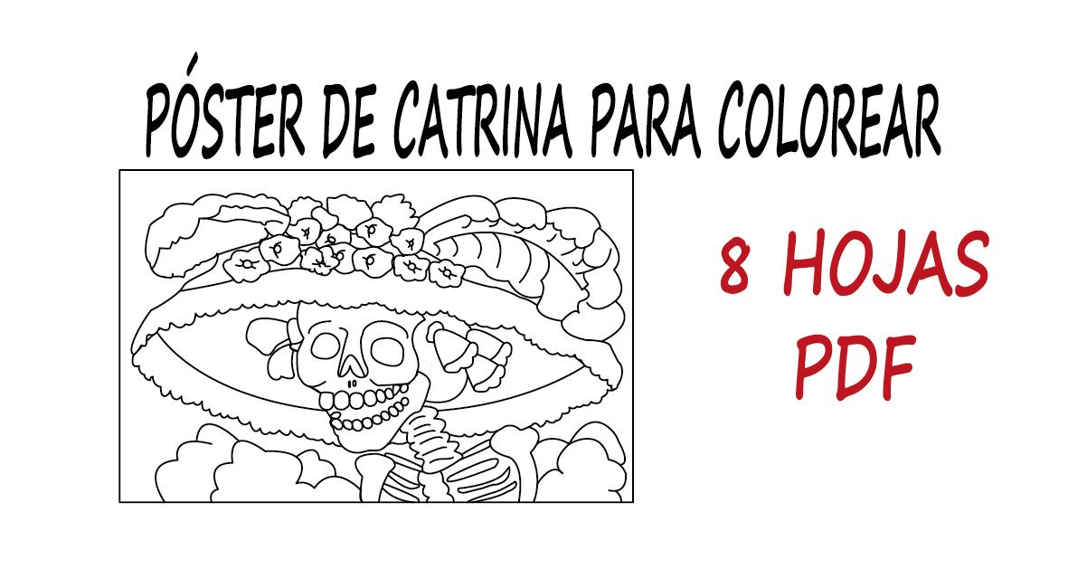 Póster De La Catrina Para Colorear