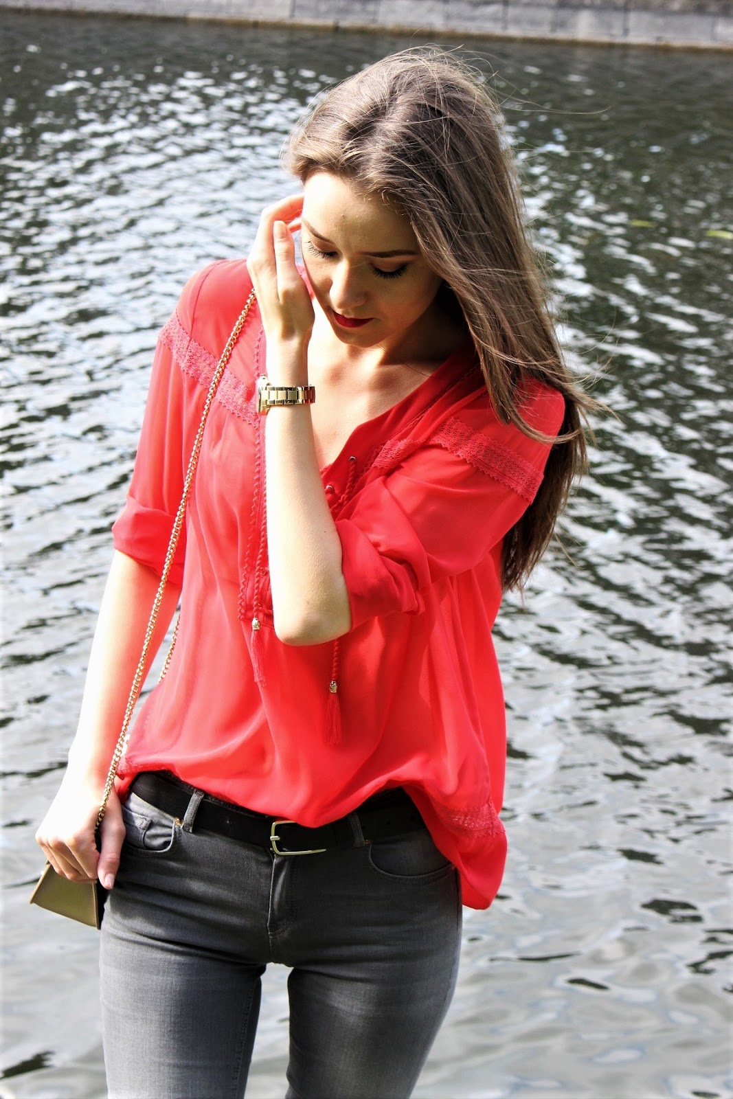 red blouse with lace