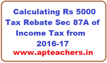 Calculating Rs 5000 Tax Rebate Sec 87a Of Income From 2016 17