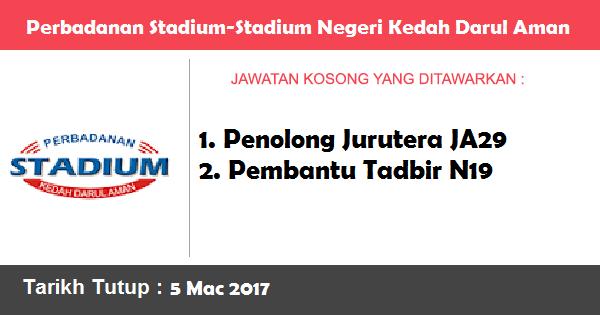 Jawatan Kosong di Perbadanan Stadium-Stadium Negeri Kedah Darul Aman