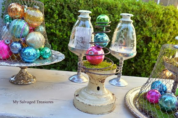 vintage tree ornaments and cloches