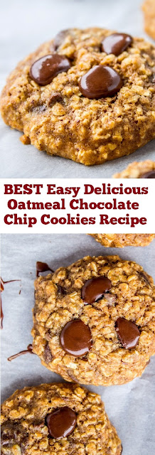 BEST Easy Delicious Oatmeal Chocolate Chip Cookies Recipe #best #easy #oatmeal #cookies #easycookie #chocolate #deliciousrecipe #chocolatechip #dessert #whole30 #easydessert