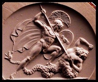 Ares luchando contra los gigantes
