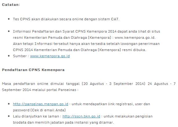 Lowongan Kerja 2014 CPNS Kemenegpora