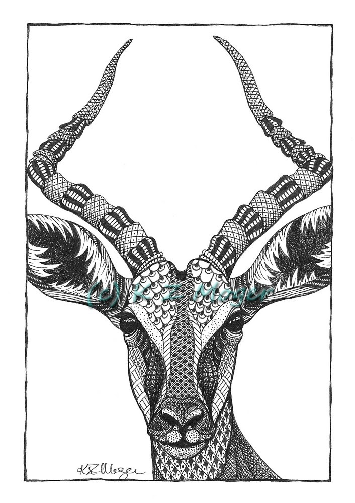 13-Impala-Kristin-Moger-Animal-Portraits-Dressed-with-Zentangle-Textures-www-designstack-co