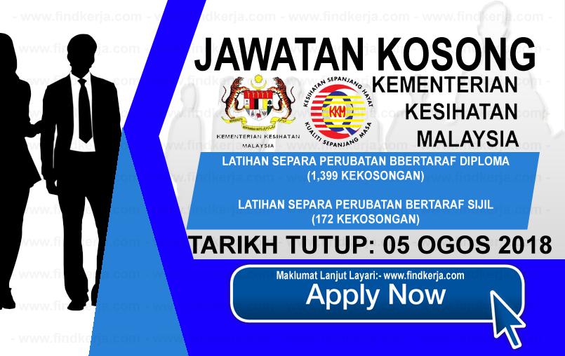 Jawatan Kerja Kosong KKM - Kementerian Kesihatan Malaysia logo www.ohjob.info www.findkerja.com ogos 2018