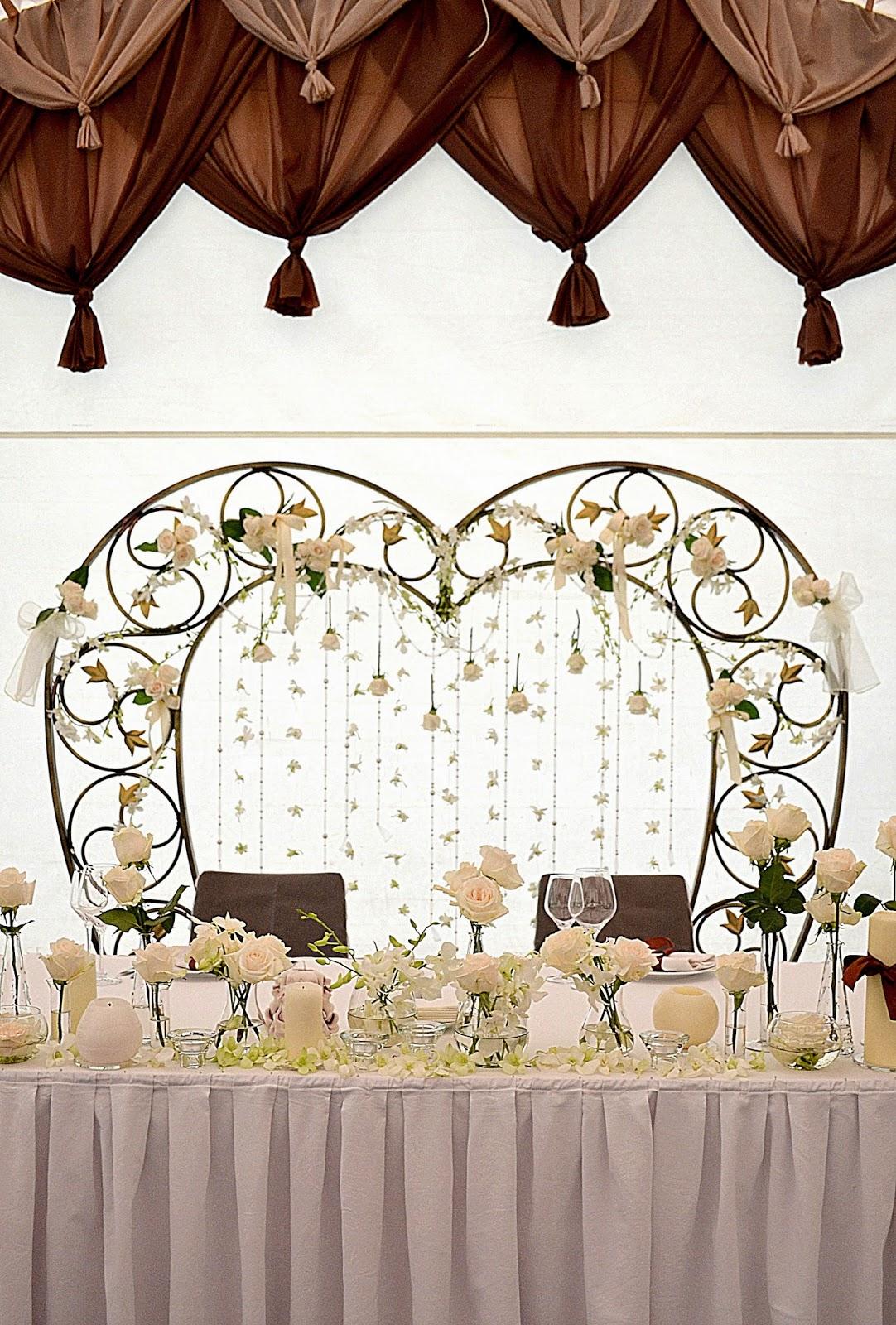 оформление свадебного стола цветами и свечами