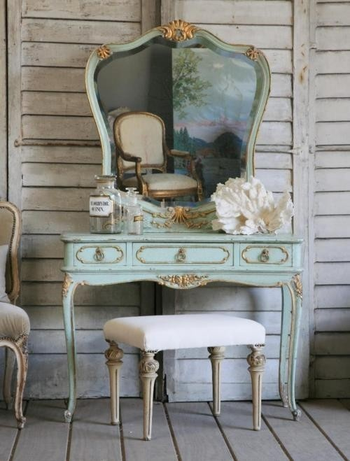 coiffeuse ancienne baroque avec miroir. Black Bedroom Furniture Sets. Home Design Ideas