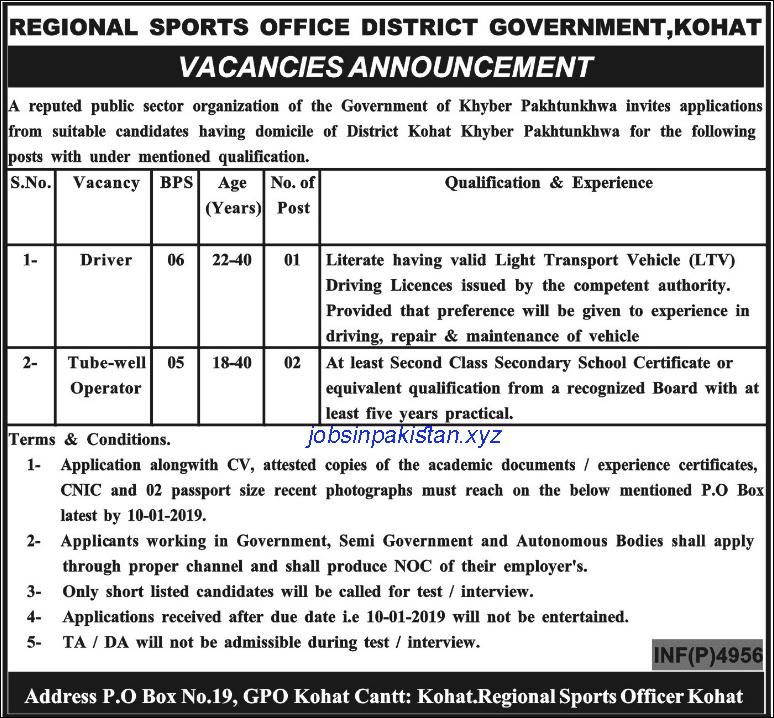 Advertisement for Regional Sports Office KPK Jobs