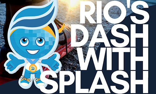 Poster for event featuring Rio Salado College mascot Splash in running gear.  Text: Rio's Dash with Splash.