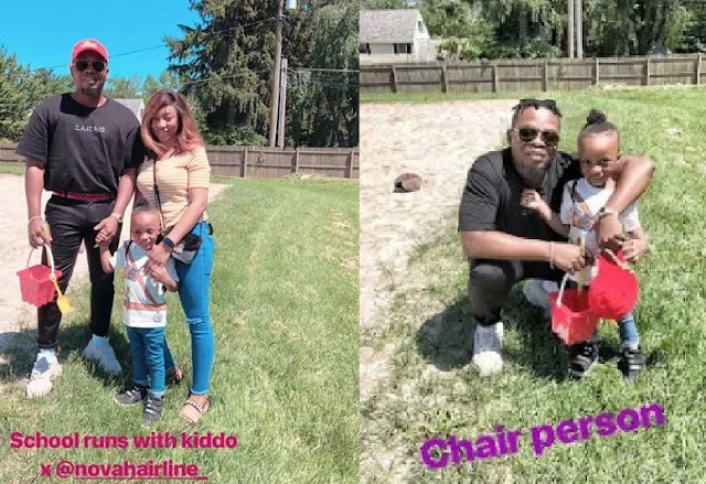 Olamide Steps Out With Fiancee And Son On 'School Runs' Abroad (Photos)