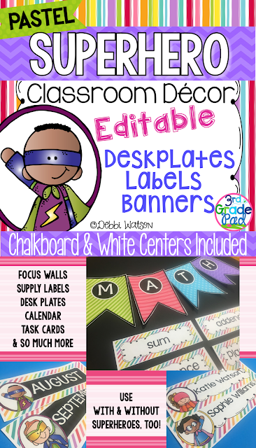 Quick & Easy way to create Classroom Decor!  Mix and Match Chalkboard and White centers.  Create Bulletin Boards, Deskplates, Libraries, Calendars, and MORE!