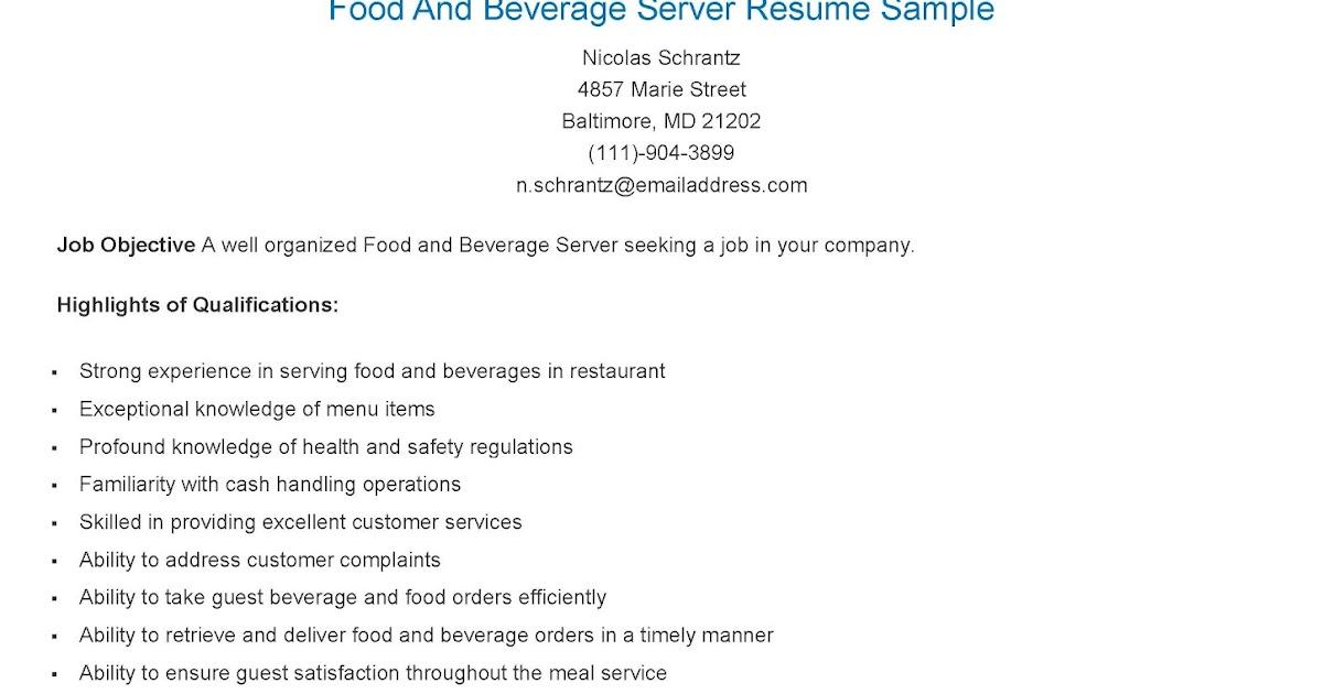 resume samples  food and beverage server resume sample
