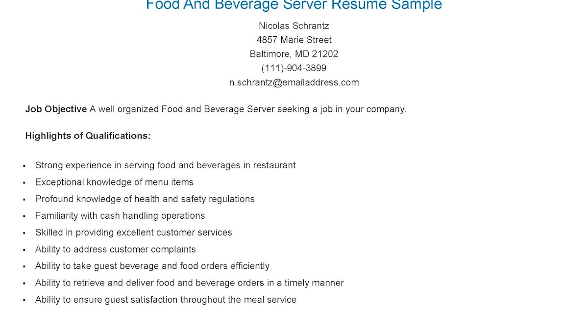 resume samples  food and beverage server resume sample