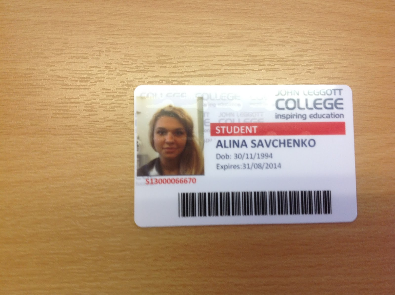 jlc a level taster course student id card