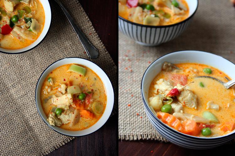 Kochkarussell: Thai-Suppe mit Kokos und Hühnchen