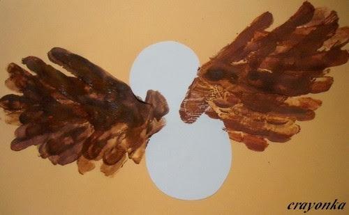 Malowanie sowy palcami