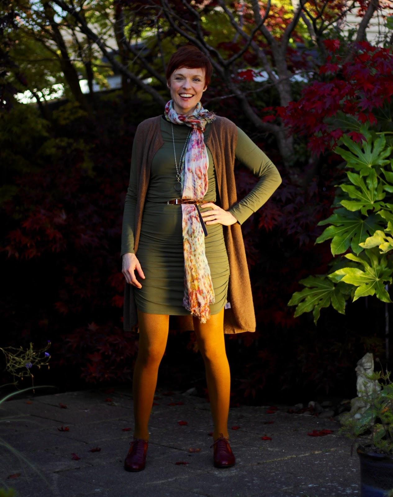 Baukjen Ruched Dress with Autumn Layers | Deluded Shopping | Fake Fabulous