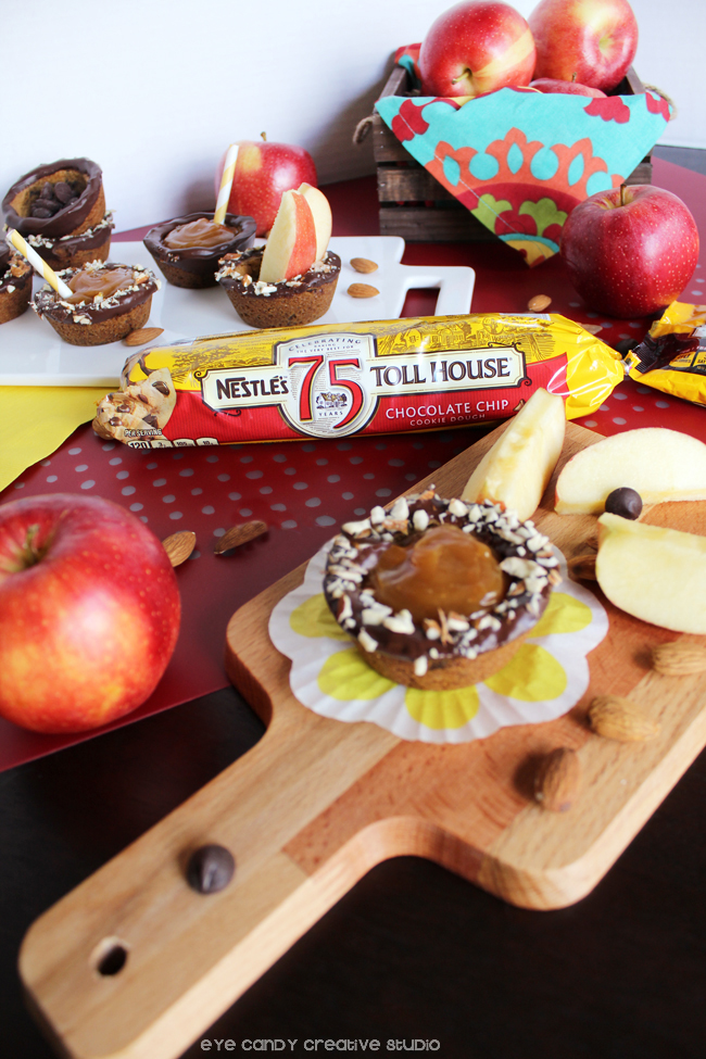 cookie cups recipe using nestle toll house morsels, fall baking, apples