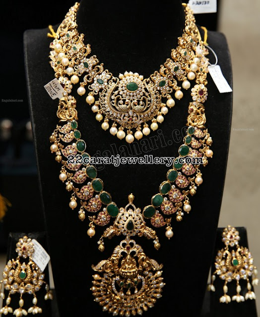 Emerald Mango Haar by Manepally jewellers
