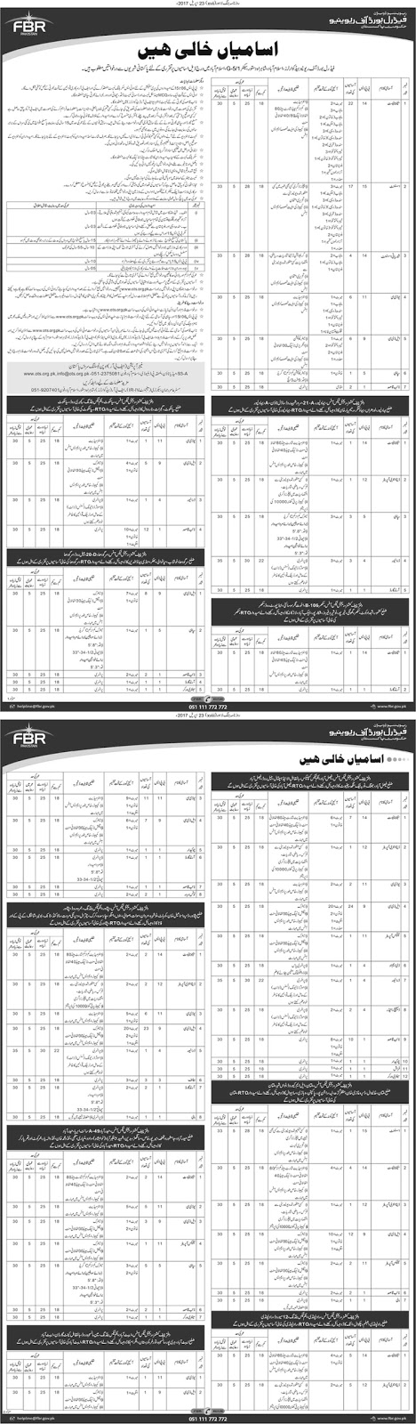 FBR Jobs In Federal Board Of Revenue Islamabad 23 April 2017