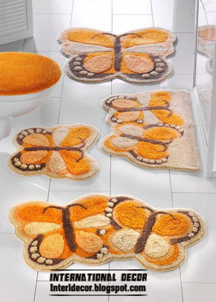 orange butterfly battroom rug sets and rugs